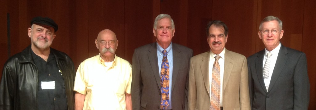Left to right: George T. Zervos, Dan Bahat, James H. Charlesworth, Gary Rendsburg, John W. Welch.